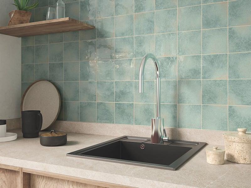 Architessa - Square Kitchen Tile -manta wall_karui_teal_install 2