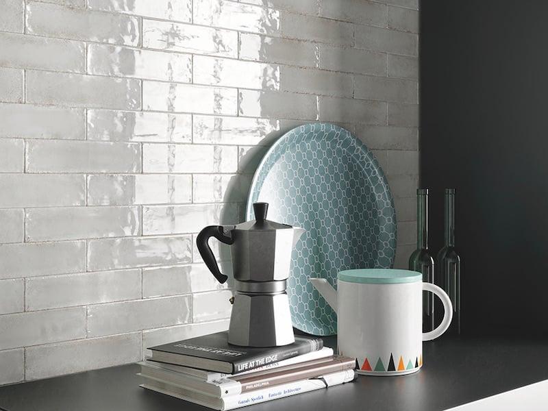 Architessa Metal Matrix Install Kitchen Backsplash Platinum Glossy Subway