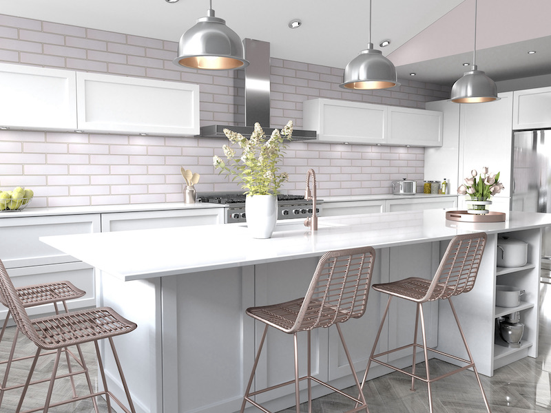 Architessa Pastel Kitchen Subway Tile With Contrasting Grout