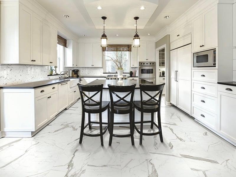 Architessa Porcelain Large Format Marble Look Tile FloorChef kitchen