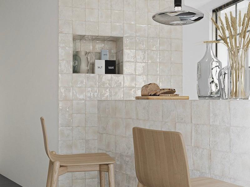 Architessa Square Glossy White Tile Accent Wall Kitchen manta wall_karui_ivory_install 2